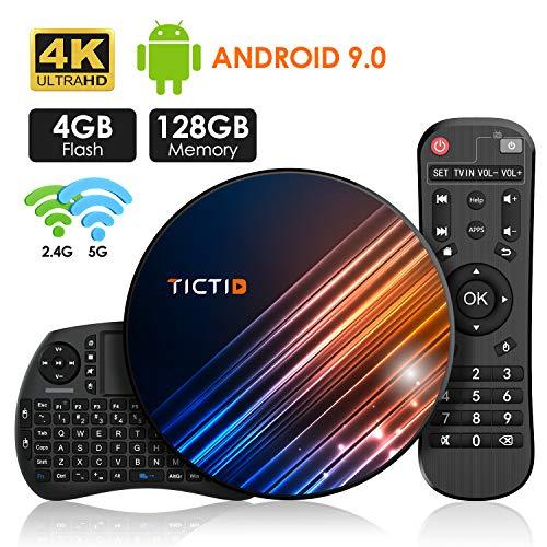 Android 9.0 TV Box 【4G + 128G】 TV Android Box mit Tastatur, BT 4.0 USB 3.0 Quad-Core RK3318 64 Bits, WiFi Double 2,4 G / 5 GHz, LAN 100M, 4K TV Box