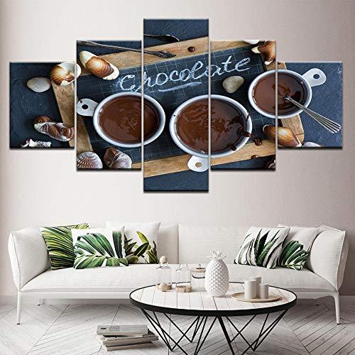 wydlb Cioccolato caffè Dessert Tela, Stampe HD Poster Soggiorno Decor 5 Pezzi Dipinti Lavagna...