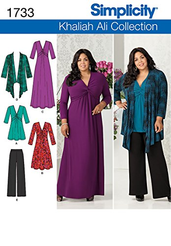 Simplicity Khaliah Ali Collection Pattern 1733 Misses Knit Dress, Tunic, Cardigan and Pants Sizes 10-12-14-16-18