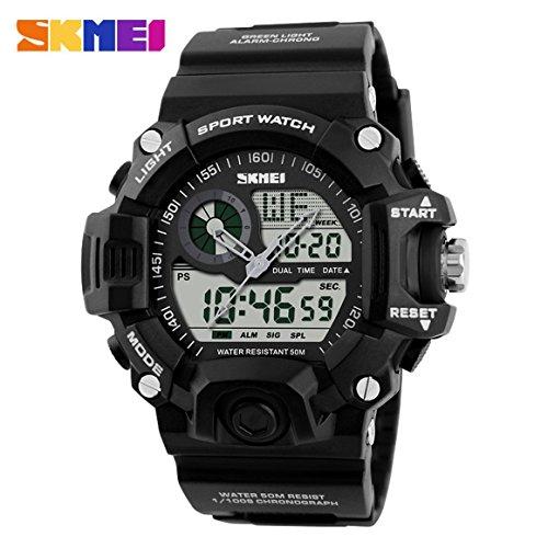 Funnyrunstore Skmei 1029 impermeable reloj deportivo de los hombres reloj de escalada al aire libre multifuncional reloj analógico militar de los hombres digitales (negro)