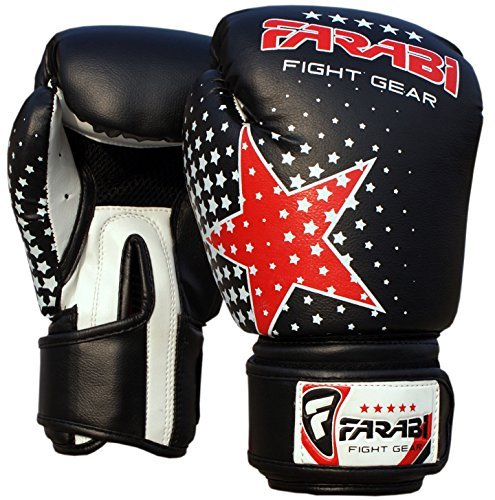 Farabi - Guantoni da Boxe, MMA e Muay Thai per Bambini, Colore: Nero, Peso: 170 g