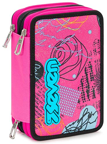 Astuccio 3 Zip Seven Shiny Girl, Rosa, Con materiale scolastico: 18 pennarelli Giotto Turbo Color,...