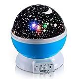 360 poder girar Wedna novedad Galaxy Night Light, romántico, el cosmos Star Moon Sky proyector, idea dormitorio lámpara para niños y bebé, tranquilizador y entspannend (azul) (Rosa) (lila)