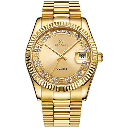 BUREI Luxus Herren Uhren Quarz Armbanduhr japanische Quarzwerk kratzfestes Synthetisches Saphirglas Edelstahl Band (Gold 2)