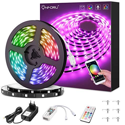 Onforu 5M WIFI Striscia LED RGB Alexa Google Home 24W 150 Unità 1500lm Compatibile WIFI 2.4Ghz, Piattaforme Android IOS, Trasformatore Telecomando Incluso, Nastri LED con Adesivo Posteriore