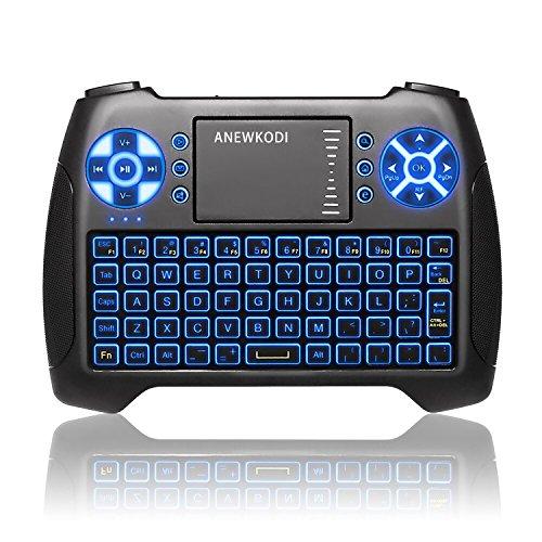 ANEWKODI T16 Mini Teclado Retroiluminado Teclado Inalámbrico con Touchpad Mini Keyboard de Juegos Controlador 2.4GHz Teclado Ergonómico con Ratón para Smart TV, PC, Android TV Box, HTPC, IPTV, XBOX, Soporta Windows 10