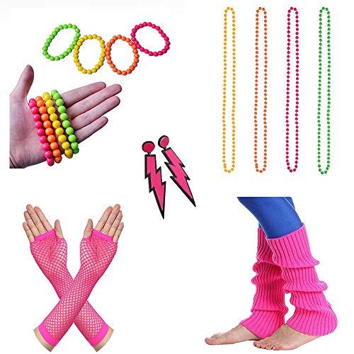 Cheerego 80S Fancy Dress,14pz plastica Neon Fluorescente Rave collane di Perline Neon bracciali e...