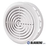 "Blauberg UK DPR 100 Internal Ventilation Grille Round White 4"" 100mm"