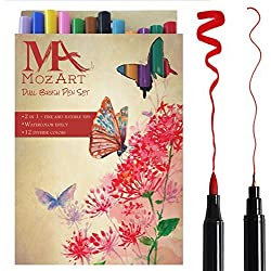 Set de rotuladores con doble punta de pincel- 12 colores - alta calidad, crea un efecto acuarela - Ideal para libros para colorear para adultos, manga, comic, caligrafía - MozArt Supplies