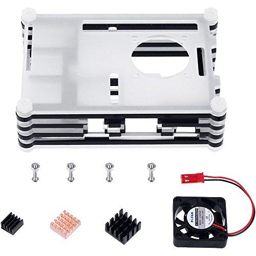 511Z0QaPGUL - Zacro 5-EN-1 Kit para Raspberry Pi 3 y 2, Caja de 9 Capas de Refrigeración + Mini Fan con 4 Tornillos+ USB Cable Encendido + 3 Disipador de Calor + USB Cable Cargador