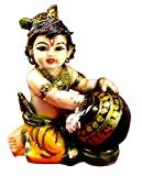 Amazing India Hand Carved Baby Krishna Resin Idol Sculpture Statue Size 6.5 inches