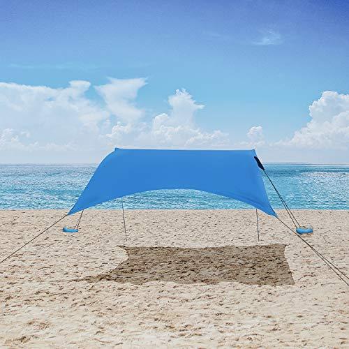 MENCOM Tenda da Spiaggia, Anti UV Tenda da Sole SPF50 con Ancoraggio Sacchetti di Sabbia, Ombrellone...