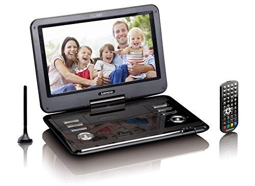 Lenco Tragbarer DVD-Player DVP - DVB-T2 Empfänger - 12 Zoll DVD-Player mit Fernseher - DVB-T2 Tuner - integrierter Li-Ionen Akku - 12 Volt KfZ Adapter - Antenne - Fernbedienung - Schwarz
