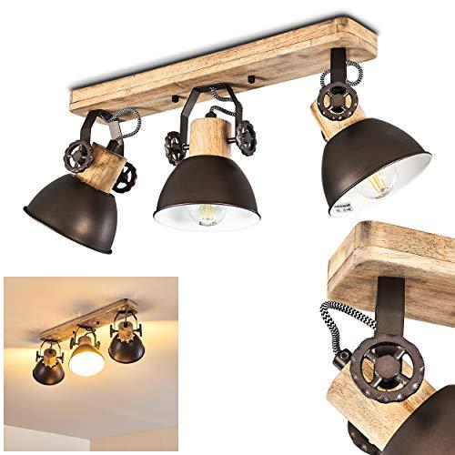 Plafoniera Orny,in metallo/legno antracite/bianco/marrone, a 3 luci, con faretti orientabili, 3...