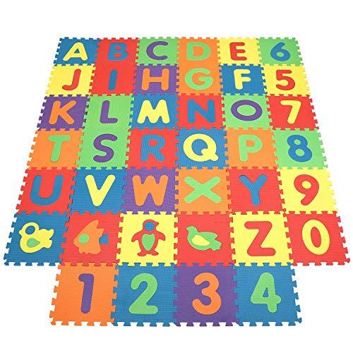 INTEY Tappeto Puzzle Bambini - 32×32 cm - 40 Pezzi Tappetini per Neonati con Certificato CE,...