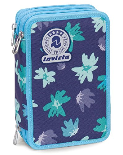 Astuccio 3 Zip Invicta , PAINTED DAISES , Blu ,Con contenuto: matite, pennarelli, painted daisies,...