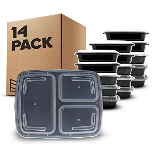 [Pack de 14] fiambreras de plástico con tapas herméticas – 3 compartimentos – Aptas para microondas y lavavajillas – Reutilizables, apilables y sin BPA – Con libro electrónico