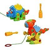 Dinosauro Giocattolo Costruzioni Giochi Smontare Giochi Set 2 pezzi per Bambini da 3 Anni+