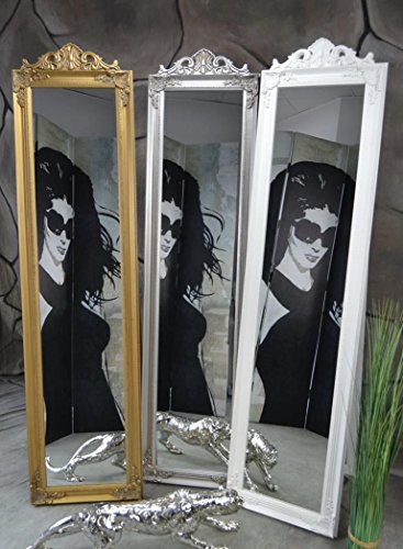 Livitat® Standspiegel Ankleidespiegel Holz 160 x 40 cm Garderobenspiegel Wandspiegel antik Silber Rokoko barock