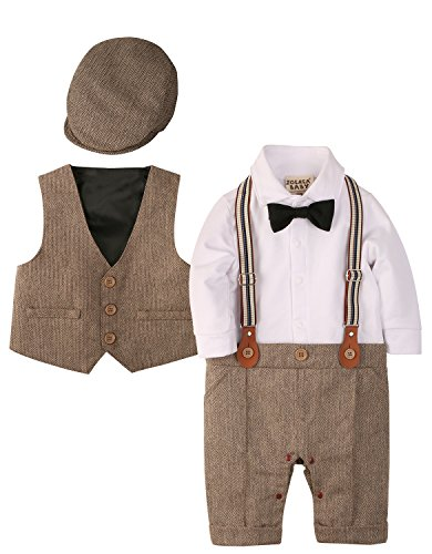 Zoerea 3tlg Baby Jungen Bekleidungssets Strampler + Weste + Hut Fliege Krawatte Anzug Gentleman Festliche Taufe Hochzeit Langarm Baby Kleikind- Gr. Etikette 80 (ca.6-12 monate), Braun 013