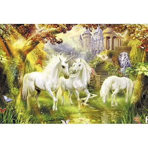 Puzzle House- Puzzle in Legno, Unicorni in Terra fatata, Pittura a Olio in Legno di Tiglio Puzzle...