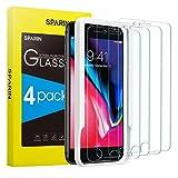 SPARIN [4-Pezzi Pellicola Vetro Temperato Compatibile con iPhone 8 Plus/7 Plus [Strumento per Una Facile Installazione], Pellicola Protettiva -Durezza 9H,Alta Trasparente,Nessuna Bolla,Anti-Graffi