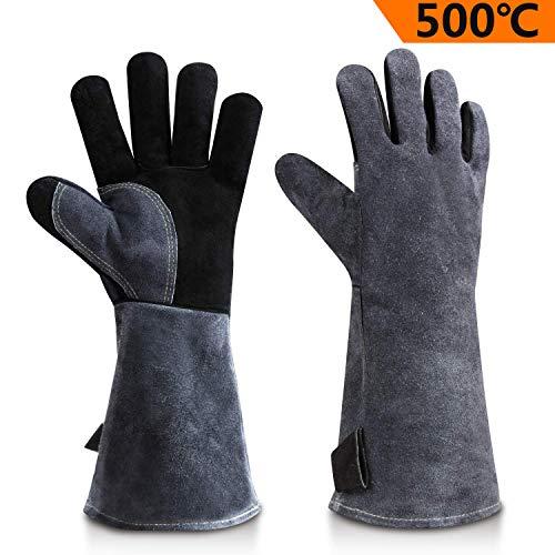 OZERO Guanti da barbecue in pelle, 932 °F Guanti estremamente resistenti al calore guanti da forno...
