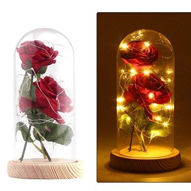 Konesky-2ST-knstliche-verzauberte-Rose-mit-20-LED-Licht-in-einem-Glaskuppelglocke-Glas-Seide-rote-Rose-Blume-warmes-Wei-mit-Holzbasis-DIY-fr-Wohnkultur-Urlaub-Projekt-Party-Hochzeitsgeschenk