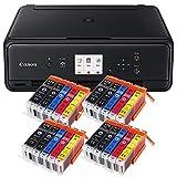 Canon Pixma TS5050 TS-5050 Farbtintenstrahl-Multifunktionsgerät (Drucker, Scanner, Kopierer, USB, WLAN, Apple AirPrint) schwarz Set IC-Office XL Tintenpatronen 570XL 571XL (Mit 20 XL Patronen)