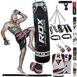 RDX Saco de Boxeo Relleno MMA Muay Thai Kick Boxing Artes Marciales con Soporte Techo Guantes Cadena 13 PC 4FT 5FT Punching Bag