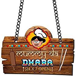 Yaya Cafe Mummy Da Dhaba Kitchen Wall Door Hanging (Brown_13 Inch X 9 Inch (Approx.)