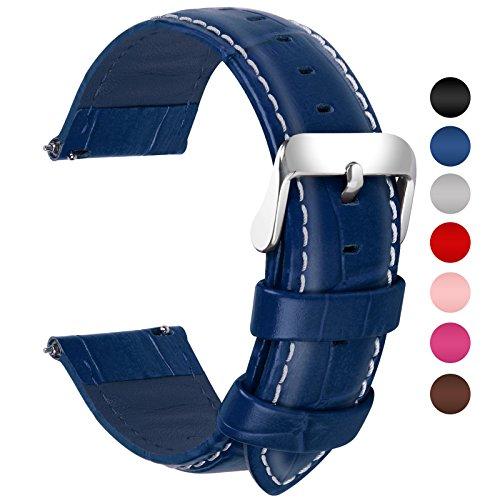 Fullmosa 7 Colori per Cinturini di Ricambio, Bambu Pelle Cinturino/Cinturini/Braccialetto/Band/Strap di Ricambio/Sostituzione per Watch/Orologio 18mm 20mm 22mm 24mm, Blu Scuro 20mm