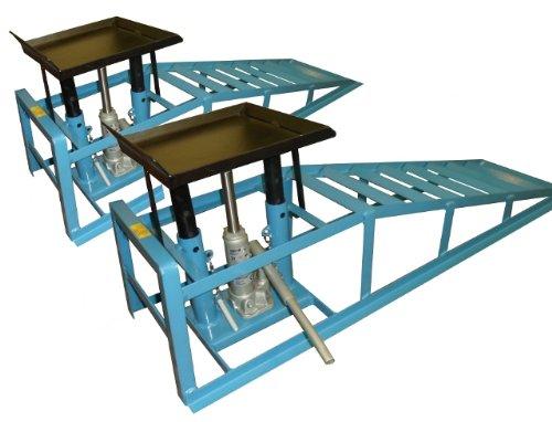 1 Paar Auffahr-Rampen/Geeignet für PKW und Klein-Transporter/Reifenbreite bis 225 mm / 2 Hydraulik-Wagenheber/Belastbar bis zu 4 Tonnen/TÜV und GS geprüft