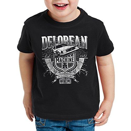 style3 Outa Time T-Shirt per Bambini e Ragazzi Delorean Ritorno Futuro, Colore:Nero, Dimensione:164