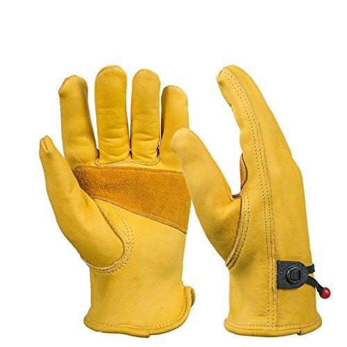 BearHoHo, guanti da lavoro, 1 paio, da uomo, interamente in pelle, chiusura con sfera e laccio, in...
