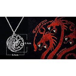 - Broche estilo réplicas de insignias de Juego de Tronos, color plateado o dorado, doble, Vintage, a la moda, Targaryen 3 Headed Dragon Necklace, Chain is 50 cm long. The Dragon is 3.5cm across