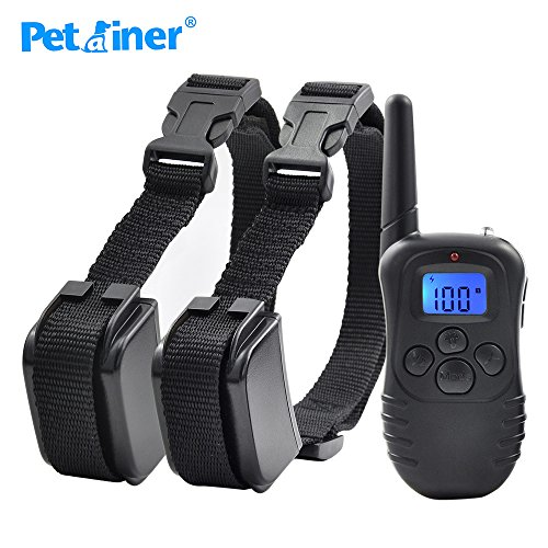 Pinkdose® United States, UK Plug: Petrainer 998Dr-2 Rechargeable Vibration Elecetric Shock Beep Dog Training Collar with Blue Back Light Screen for 2
