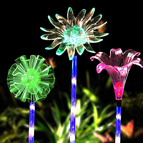 TASLAR Solar Stake Powered LED Lights, Outdoor Garden 7 Multi-Color Changing Set of 3 for Garden Path Walkway Patio Lawn Yard Outdoor Decoration, Christmas, Diwali, (Lily, Sunflower, Snowflake)