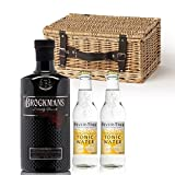 Brockmans Gin Gift Set Wicker Hamper (With 2 Fever Tree Tonics)