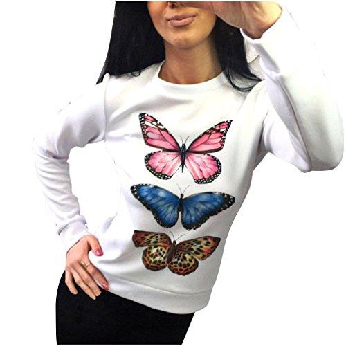 Vovotrade Mujer Manga larga Hermosa Mariposas Blanco Blusa Camisa Camiseta (L, Blanco)