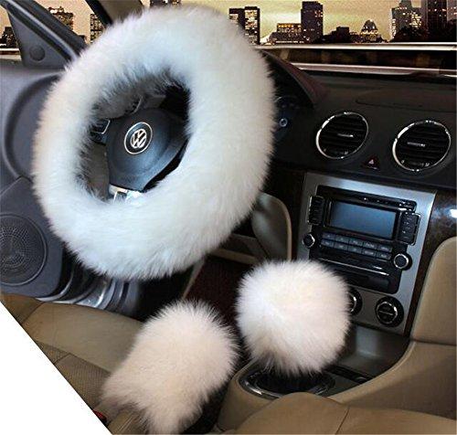 Lenkrad-Bezug für den Winter, 3-teilig, für Damen, mit Bezug für Handbremse und Schaltknauf, Plüsch, lange Wolle, hält warm