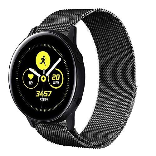 Uatone Cinturino in Metallo per Samsung Galaxy Active 40mm, Cinturini di Ricambio in Acciaio Inossidabile Cinturino per Samsung Galaxy Active/Galaxy Active 2 / Gear Sport (Nero)