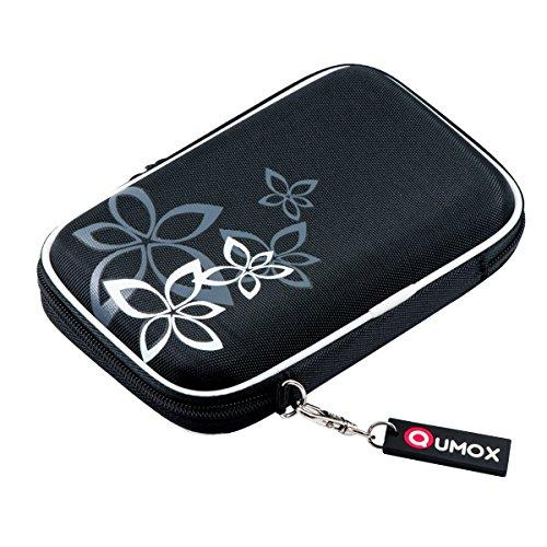 QUMOX Nero (Fiore) Custodia Rigida da 2,5'HDD Borsa per Il Caso Portable Drive Hard Disk