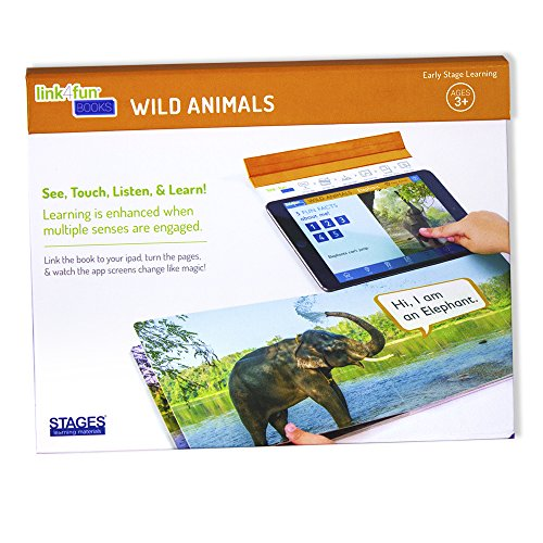 Stages Learning Materials Link4fun Wild Animals Board Book for iPad Preschool Vocabulary + Reading Interactive Learning Toy for Kids 1 Book, Free App