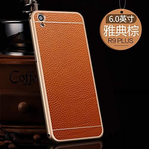 SCSY-Cas de la mode étui de Protection arrière Coque en Cuir véritable téléphone Coque Coque pour Oppo r9 Plus (Color : Brown) 7