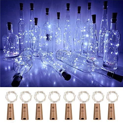 Luci per bottiglie di vino, 8 pezzi, funzionamento a batterie inserite nel vano a forma di tappo di sughero, 2 m di filo di rame con 20 lucine a LED brillanti, per feste, Natale, matrimoni Cool White