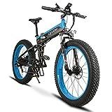 Extrbici Vélo Tout Terrein Pliable électrique Homme XF690Plus VTT Pliant électrique en Alliage d'Aluminium 48V 500W 10A Ecran LCD Pas 5 d'Assistance électrique (Bleu Noir)