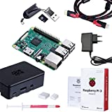 Raspberry Pi 3 Modelo B Starter Kit Desktop Quad-Core 1.2 GHz 1GB RAM con Accesorios como Regalo (32GB Micro SD, Cable HDMI, Caja Negra y Cargador)