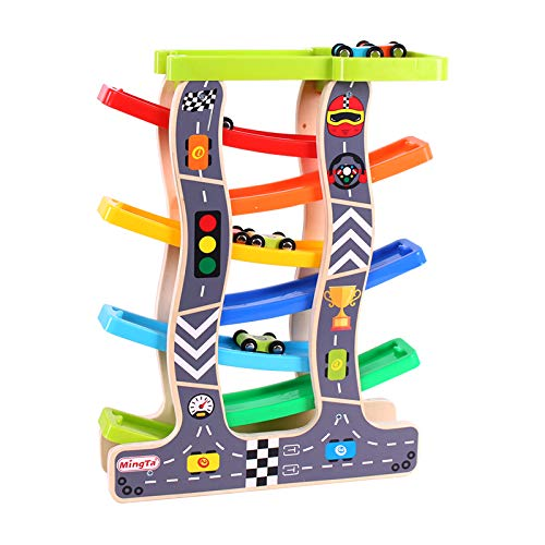 Webby Wooden Ramp Race Track Car Set Toy (Large, Multicolour)