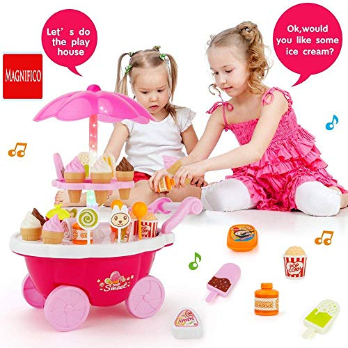 MAGNIFICO® Sweet Super Mini Market Kitchen Set Toy for Kids (39 Piece, Pink)